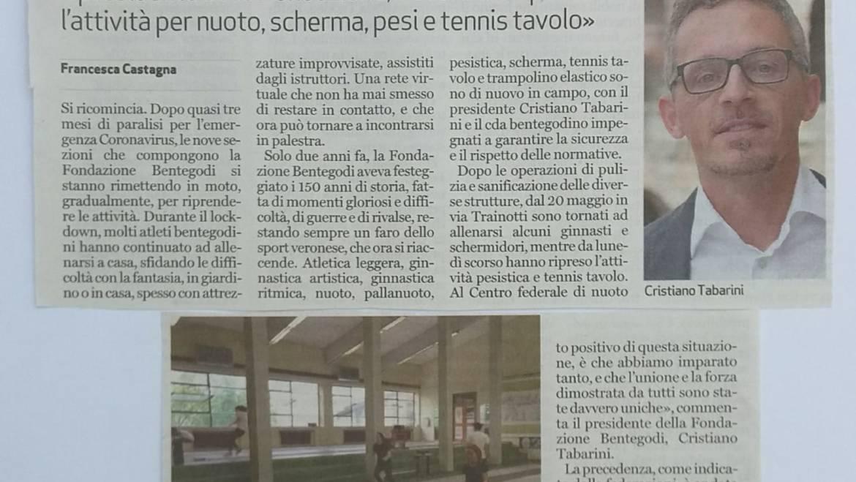 """""""ALLENAMENTI IN SICUREZZA"""" – Benteogodi sul giornale L'Arena"""